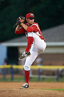 Batavia Muckdogs pitcher Cody Harris (35) delivers a pitch during a game against the Mahoning Valley Scrappers on June 23, 2015 at Dwyer Stadium in Batavia, New York.  Mahoning Valley defeated Batavia 11-2.  (Mike Janes/Four Seam Images)