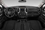 Stock photo of straight dashboard view of a 2020 Chevrolet Silverado 1500 Custom Trail Boss 4 Door Pick Up