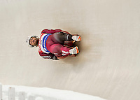4 December 2015: Tristan Walker and Justin Snith, sliding for Canada, bank into a turn on their first run of the Doubles Competition during the Viessmann Luge World Cup Series at the Olympic Sports Track in Lake Placid, New York, USA. Mandatory Credit: Ed Wolfstein Photo *** RAW (NEF) Image File Available ***