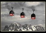 Photoshop, selective desaturation. Hellbrenner Gondola, Aiguille du Midi, Chamonix, France.