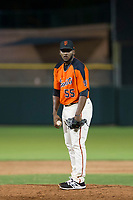 AZL Giants relief pitcher Franklin Van Gurp (55) looks to his catcher for the sign against the AZL Rangers on September 4, 2017 at Scottsdale Stadium in Scottsdale, Arizona. AZL Giants defeated the AZL Rangers 6-5 to advance to the Arizona League Championship Series. (Zachary Lucy/Four Seam Images)