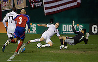 Michael Bradley scores a goal against Costa Rica during a 2-2 tie to put the USA in first place of CONCACAF 2010 World Cup qualifying, at RFK Stadium, in Washington DC, Wednesday, October 14, 2009.