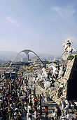Rio de Janeiro, Brazil. Carnival samba school parade; The Sambadrome with a float of white horses.