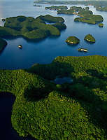 Aerial view of the Rock Islands in the late afternoon Natural Arch area Palau, Micronesia
