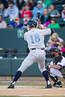 Hunter Dozier (18) of the Wilmington Blue Rocks at bat against the Winston-Salem Dash at BB&T Ballpark on April 5, 2014 in Winston-Salem, North Carolina.  The Dash defeated the Blue Rocks 3-2.  (Brian Westerholt/Four Seam Images)