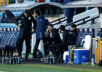 31st October 2020; The Den, Bermondsey, London, England; English Championship Football, Millwall Football Club versus Huddersfield Town; Huddersfield Town manager Carlos Corberan shouting at his staff from the dugout during the 2nd half