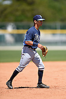 Tampa Bay Rays Andrew Velazquez (17) during a minor league spring training game against the Baltimore Orioles on April 3, 2015 at the Buck O'Neil Complex in Sarasota, Florida.  (Mike Janes/Four Seam Images)