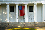 Madison Congregational Church and columns with American flag.