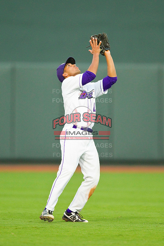 Winston-Salem Dash shortstop Marcus Semien #2 catches a pop fly in short left field during the game against the Salem Red Sox at BB&T Ballpark on May 5, 2012 in Winston-Salem, North Carolina.  The Red Sox defeated the Dash 6-4.  (Brian Westerholt/Four Seam Images)