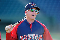 First-year manager Darren Fenster (3) of the Greenville Drive looks on at the team's Media Day first workout on Tuesday, April 1, 2014, at Fluor Field at the West End in Greenville, South Carolina. (Tom Priddy/Four Seam Images)