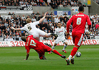 Pictured: Alan Tate of Swansea tackled by david McGoldrick in the first half<br /> Swansea City FC (white) V Nottingham Forest (red) Championship play off semi final, second leg. Liberty Stadium Swansea 16/05/11<br /> Picture by: Ben Wyeth  / Athena Picture Agency<br /> info@athena-pictures.com