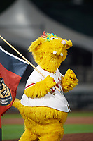 Altoona Curve mascot LoCo the Golden Locotami waves the team flag after a walk off victory against the New Hampshire Fisher Cats on May 11, 2017 at Peoples Natural Gas Field in Altoona, Pennsylvania.  Altoona defeated New Hampshire 4-3.  (Mike Janes/Four Seam Images)