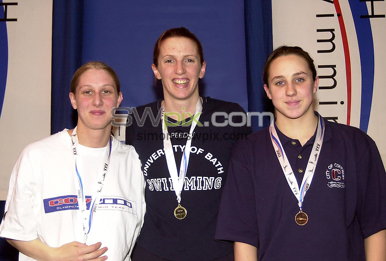 Pix: Matthew Lewis/SWpix.com. Swimming. 2003 British Championships. Ponds Forge International Sports Centre, Sheffield. 23/03/2003..COPYRIGHT PICTURE>>SIMON WILKINSON>>01943 436649>>..From Left to Right:- City of Coventry's Rachel Genner (Silver), Bath University's Jaime King (Gold), City of Coventry's Grace Callaghan (Bronze). Winners in the Womens 100m Breaststroke Final.