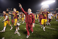 Pete Carrol celebrates with his team after a .USC victory 24-13 over Boston College at the 2009 Emerald Bowl at ATT Park in San Francisco, California, Saturday, Dec. 26, 2009. .