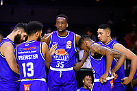 Romaro Gill of the Wellington Saints talks to the team mate before the round one NBL match between the Wellington Saints and the Canterbury Rams at TSB Bank Arena, Wellington, New Zealand on Friday 30 April 2021.<br /> Photo by Masanori Udagawa. <br /> www.photowellington.photoshelter.com
