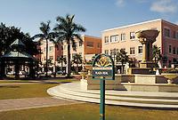 Mizner Park-Plaza Real, named after pioneer Boca Raton architect Addison Mizner in Boca Raton, Florida. Resorts, city planning, ornamental architecture, fountains, cityscape, urban design. Boca Raton Florida USA Plaza Real.