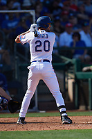 Greg Bird (20) of the Texas Rangers at bat during a Cactus League Spring Training game against the Los Angeles Dodgers on March 8, 2020 at Surprise Stadium in Surprise, Arizona. Rangers defeated the Dodgers 9-8. (Tracy Proffitt/Four Seam Images via AP)