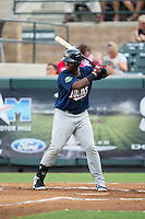 Lewin Diaz (44) of the Elizabethton Twins at bat against the Pulaski Yankees at Calfee Park on July 25, 2016 in Pulaski, Virginia.  The Twins defeated the Yankees 6-1.  (Brian Westerholt/Four Seam Images)