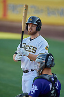 Jared Walsh (18) of the Salt Lake Bees bats against the Albuquerque Isotopes at Smith's Ballpark on April 27, 2019 in Salt Lake City, Utah. The Isotopes defeated the Bees 10-7. This was a makeup game from April 26, 2019 that was cancelled due to rain. (Stephen Smith/Four Seam Images)