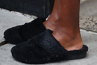 NEW YORK, NY- June 09: Close up of Robin Roberts' fluffy slippers outside ABC studios while on Good Morning America in New York City on June 09, 2021 Credit: RW/MediaPunch