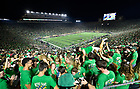 September 1, 2018; ; Students celebrate a touchdown during the opening season game against Michigan. (Photo by Barbara Johnston/University of Notre Dame)