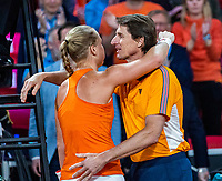 The Hague, The Netherlands, Februari 7, 2020,    Sportcampus, FedCup  Netherlands -  Balarus, Seccond match on friday:  Kiki Bertens puts The Netherlands in the lead 1-0 and celebrates with captain Paul Haarhuis.<br /> Photo: Tennisimages/Henk Koster