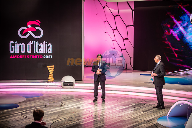 Urbano Cairo, President of RCS Media Group and Antonello Orlando at the presentation of the 2021 Giro d'Italia Route in the Rai Studios in Corso Sempione, Milan, Italy. 23rd February 2021.  <br /> Picture: LaPresse/Claudio Furlan | Cyclefile<br /> <br /> All photos usage must carry mandatory copyright credit (© Cyclefile | LaPresse/Claudio Furlan)