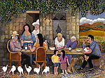 """""""California Early Days""""<br /> Limited Edition Giclee 24x30<br /> <br /> SN Canvas $1,200.<br /> SN Paper $1,100.<br /> AP Paper w/Original Watercolor Remarque $2,100.<br /> Migrant farm worker family relaxing at lunchtime."""
