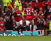 Pictured: Javier Hernandez (L) and Paul Scholes (R).<br /> Sunday 12 May 2013<br /> Re: Barclay's Premier League, Manchester City FC v Swansea City FC at the Old Trafford Stadium, Manchester.