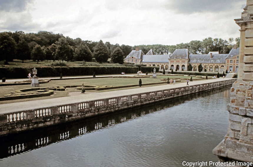 Service building of brick and stone on grounds of Vaux-le-Vicomte. Maincy France