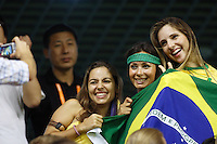Brazil fans before the start of the game. Germany (GER) defeated Brazil 2-0 in the finals of the Women's World Cup China 2007 at Shanghai Hongkou Football Stadium, Shanghai, China, on September 30, 2007.