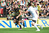 Dylan Hartley of Northampton Saints looks to go past Aly Muldowney of Exeter Chiefs during the Aviva Premiership match between Northampton Saints and Exeter Chiefs at Franklin's Gardens on Sunday 9th September 2012 (Photo by Rob Munro)
