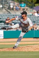 Hickory Crawdads pitcher Alex Eubanks (16) on the mound during a game against the Charleston Riverdogs at the Joseph P. Riley Ballpark in Charleston, South Carolina.  Hickory defeated Charleston 8-7. (Robert Gurganus/Four Seam Images)