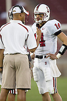 12 April 2007: Tavitha Pritchard talks with David Shaw during the annual Spring Game at Stanford Stadium in Stanford, CA.