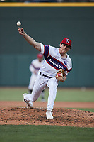 Winston-Salem Rayados relief pitcher Declan Cronin (26) in action against the Llamas de Hickory at Truist Stadium on July 6, 2021 in Winston-Salem, North Carolina. (Brian Westerholt/Four Seam Images)