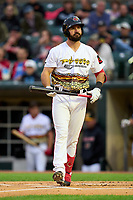 Rochester Red Wings Jake Noll (18) bats during a game against the Worcester Red Sox on September 2, 2021 at Frontier Field in Rochester, New York.  (Mike Janes/Four Seam Images)