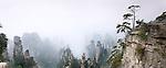 Foggy mountan landscape panoramic scenery of Zhangjiajie National Forest Park, Zhangjiajie, Hunan, China Image © MaximImages, License at https://www.maximimages.com