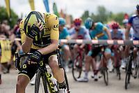 yellow jersey / GC leader Adam Yates (GBR/Mitchelton-Scott) at the stage start<br /> <br /> Stage 7: Saint-Genix-les-Villages to Pipay  (133km)<br /> 71st Critérium du Dauphiné 2019 (2.UWT)<br /> <br /> ©kramon