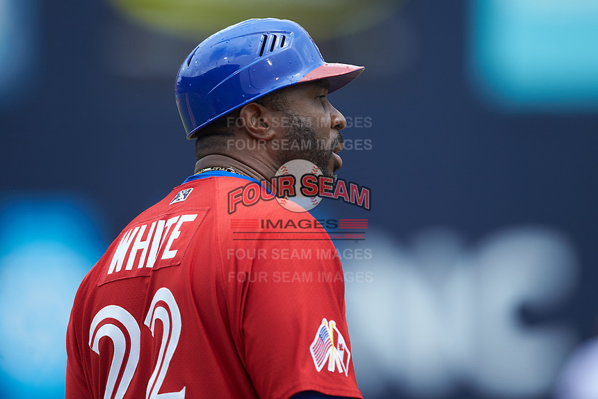 Buffalo Bison first base coach Devon White (22) during the game against the Durham Bulls at Durham Bulls Athletic Park on April 25, 2018 in Allentown, Pennsylvania.  The Bison defeated the Bulls 5-2.  (Brian Westerholt/Four Seam Images)
