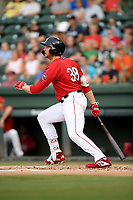 First baseman Triston Casas (38) of the Greenville Drive bats in a game against the Asheville Tourists on Friday, August 23, 2019, at Fluor Field at the West End in Greenville, South Carolina. Greenville won, 11-1. (Tom Priddy/Four Seam Images)