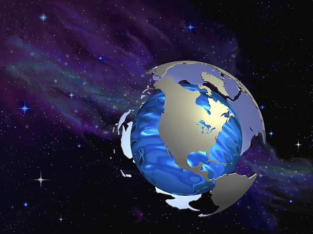 Land mases revolving around water sphere