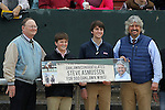 HOT SPRINGS, AR - JANUARY 16: Trainer Steve Asmussen far right with his sons being recognized after winning his 500th win at Oaklawn in the 7th race with Hence on Martin Luther King Day at Oaklawn Park on January 16, 2017 in Hot Springs, Arkansas. (Photo by Justin Manning/Elipse Sportwire/Getty Images)