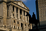 Bank of England The City of London Britain UK.  Statue of the Duke of Wellington. 1992 1990s UK