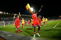 3rd October 2021; Franchi Stadium, Florence, Italy; Serie A football, Fiorentina versus Napoli : Victor Osimhen, Giovanni Di Lorenzo and team mates of Napoli celebrate their 1-2 win at the end of the game