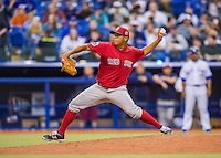 1 April 2016: Boston Red Sox pitcher Luis Ysla on the mound during a pre-season exhibition series between the Toronto Blue Jays and the Boston Red Sox at Olympic Stadium in Montreal, Quebec, Canada. The Red Sox defeated the Blue Jays 4-2 in the first of two MLB weekend games, which saw an attendance of 52,682 at the former home on the Montreal Expos. Mandatory Credit: Ed Wolfstein Photo *** RAW (NEF) Image File Available ***