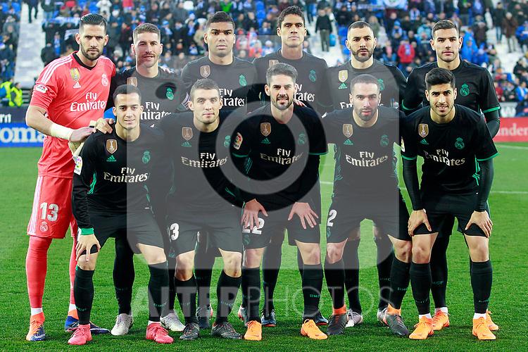 Real Madrid's team photo with Kiko Casilla, Sergio Ramos, Carlos Henrique Casemiro, Raphael Varane, Karim Benzema, Theo Hernandez, Lucas Vazquez, Mateo Kovacic, Isco Alarcon, Daniel Carvajal and Marco Asensio during La Liga match. February 21,2018. (ALTERPHOTOS/Acero)