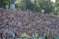 Die Ulmer Fans becelebration das 2:0, SSV Ulm 1846 - Eintracht Frankfurt, Football, DFB-Pokal,round 1, 18.08.2018<br />DFB RULES PROHIBIT USE IN MMS SERVICES VIA HANDHELD DEVICES UNTIL TWO HOURS AFTER A MATCH AND ANY USAGE ON INTERNET OR ONLINE MEDIA SIMULATING VIDEO FOOdayE DURING THE MATCH. *** Local Caption *** © pixathlon<br /> Contact: +49-40-22 63 02 60 , info@pixathlon.de