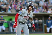 Quad Cities River Bandits third baseman Jeison Guzman (17) during a game against the Wisconsin Timber Rattlers on July 8, 2021 at Neuroscience Group Field at Fox Cities Stadium in Grand Chute, Wisconsin.  (Brad Krause/Four Seam Images)