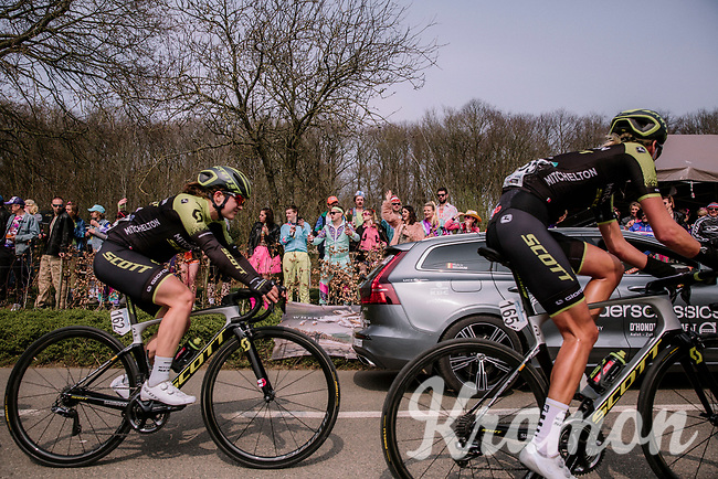 Moniek Tenniglo (NED/Mitchelton-Scott) and Grace Brown (AUS/Mitchelton-Scott)<br /> <br /> 8th Gent-Wevelgem In Flanders Fields 2019 <br /> Elite Womens Race (1.WWT)<br /> <br /> One day race from Ypres (Ieper) to Wevelgem (137km)<br /> ©JojoHarper for Kramon