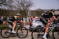 Moniek Tenniglo (NED/Mitchelton-Scott) and Grace Brown (AUS/Mitchelton-Scott)<br /> <br /> 8th Gent-Wevelgem In Flanders Fields 2019 <br /> Elite Womens Race (1.WWT)<br /> <br /> One day race from Ypres (Ieper) to Wevelgem (137km)<br /> ©JojoHarper for Kramon
